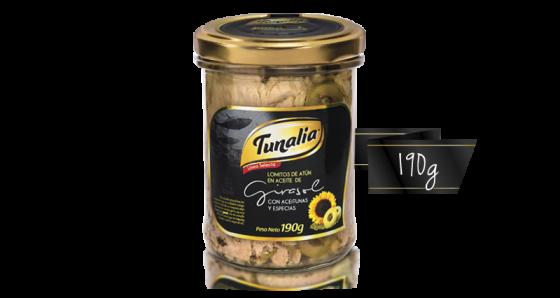 tunalia-lomitos de atun en aceite de girasol aceitunas especias_190g
