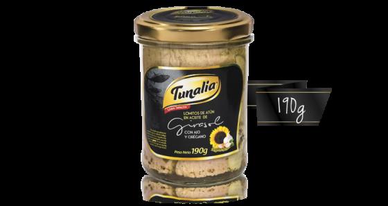 tunalia-lomitos de atun en aceite de girasol con ajo y oregano_190g